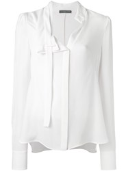 Alexander Mcqueen Pussy Bow Blouse White