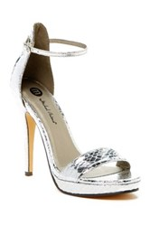 Michael Antonio Rally Snake Embossed Heeled Sandal Metallic