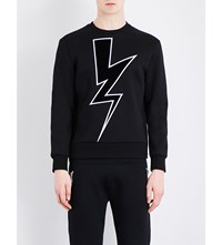 Neil Barrett Velvet Applique Jumper Blk Wht