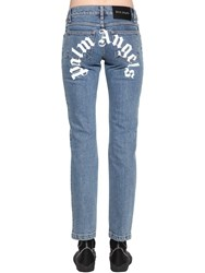 Palm Angels Logo Print Cotton Denim Straight Jeans Light Blue