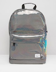 Spiral Metallic Backpack In Silver Silver