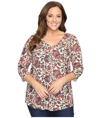 Lucky Brand Plus Size Printed Pintuck Top Multi Women's Clothing