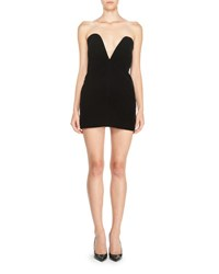 Saint Laurent Strapless Sweetheart Velvet Mini Dress Black