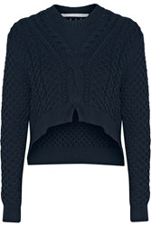 Thakoon Cropped Cable Knit Cotton Blend Sweater Blue