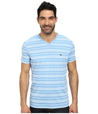Lacoste Jersey Short Sleeve V Neck Striped Tee Shirt Naval Blue White Men's T Shirt Navy