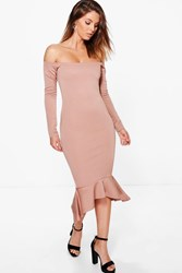 Boohoo Off Shoulder Peplum Hem Midi Dress Rose