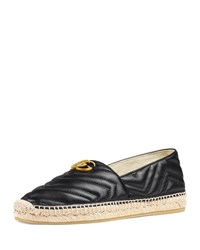 Gucci Quilted Leather Espadrilles With Double G Black