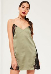 Missguided Green Silky Eyelash Embroidered Shift Dress