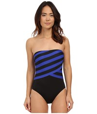 Dkny Iconic Stripe Layered Bandeau Maillot W Removable Soft Cups Electric Women's Swimsuits One Piece Blue