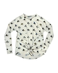 Terez Many Mickeys Printed Tie Front Long Sleeve Top White