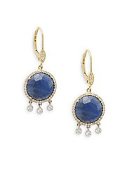 Meira T Blue Sapphire Diamond And 14K Yellow Gold Earrings No Color