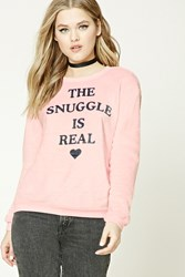 Forever 21 The Snuggle Is Real Sweater Light Pink