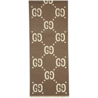 Gucci Taupe And Off White Wool Gg Scarf