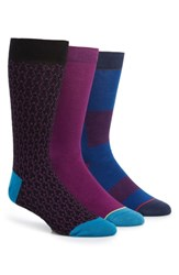 Ted Baker London Shnow 3 Pack Socks Purple Blue Multi