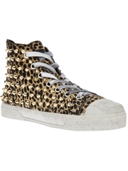 Gienchi Studded Leopard Print Hi Top Sneaker Nude And Neutrals