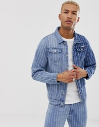 Liquor N Poker Slim Fit Denim Jacket In Two Tone With Pinstripe Blue