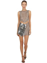 Fannie Schiavoni Metal Mesh And Scale Dress Silver