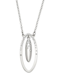T Tahari Essential Double Oval Pave Pendant Necklace Silver