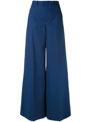 Red Valentino Super Flared Trousers Women Cotton Polyester Spandex Elastane Acetate 38 Blue