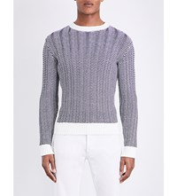 Sandro Ribbed Chunky Knit Pure Cotton Jumper Navy Blue