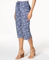 Karen Scott Petite Cotton Printed Drawstring Capri Pants Only At Macy' Navy Combo