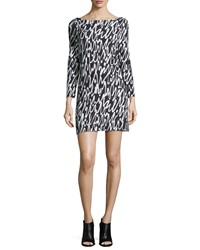 Milly 3 4 Sleeve Graffiti Scribble Print Shift Dress