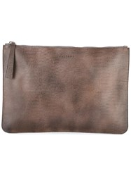 Orciani Zipped Clutch Brown