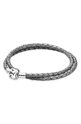 Pandora Design Leather Wrap Charm Bracelet Grey