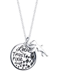 Disney Tinkerbell 'Love Trust Pixie Dust' Charm Pendant Necklace In Sterling Silver
