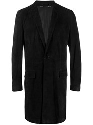 Dolce And Gabbana Suede Single Breasted Coat Black