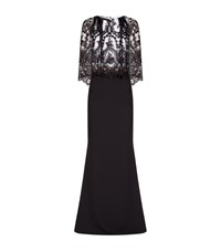 Talbot Runhof Embellished Lace Cape Gown Female Black
