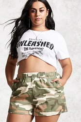 Forever 21 Plus Size Camo Shorts Tan Olive