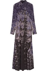 Raquel Allegra Tie Dyed Washed Silk Maxi Dress Dark Purple