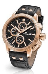 Tw Steel Men's Ceo Adesso Chronograph Leather Strap Watch 48Mm Black Rose Gold