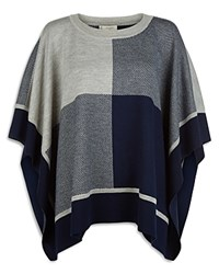 Hobbs London Blake Merino Wool Poncho Navy Gray Melange