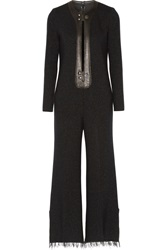 Calvin Klein Metallic Leather Trimmed Wool Blend Jumpsuit