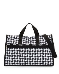 Le Sport Sac Lesportsac Large Houndstooth Weekender Bag Chic Noir