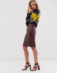 Mango Faux Leather Pencil Skirt In Brown Red
