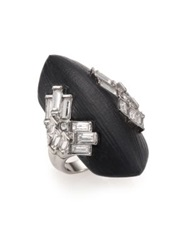 Alexis Bittar Coral Deco Lucite And Crystal Baguette Cocktail Ring Silver Black