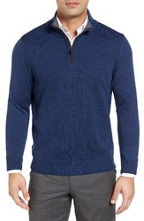 Thomas Dean Men's Merino Wool Quarter Zip Sweater Cobalt