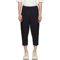Homme Plisse Issey Miyake Navy Cropped Wide Pleat Trousers