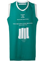 Julius Lettering Print Sleeveless T Shirt Men Cotton Ii Green