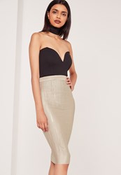 Missguided Crinkle Midi Skirt Nude Cream