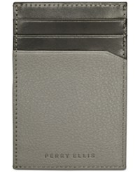 Perry Ellis Pocket Magnetic Clip Wallet Black Grey