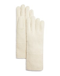 Bloomingdale's C By Waffle Knit Cashmere Gloves Ivory
