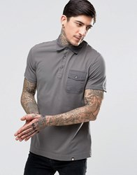 Pretty Green Polo Shirt With Badges In Grey Dkgrey