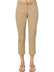 Valentino Metal V Logo Cotton Canvas Chino Pants Beige