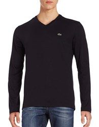 Lacoste V Neck Long Sleeve T Shirt Black