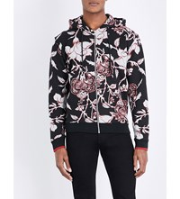 Mcq By Alexander Mcqueen Floral Print Cotton Jersey Hoody Black Large Floral