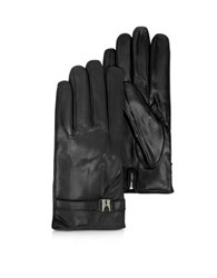 Moreschi Alaska Black Leather Men's Gloves W Cashmere Lining